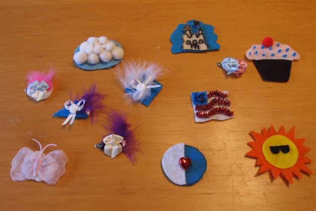 Homemade-hair-clips-with-cupcake-patriotic-flag-and-sand-castle