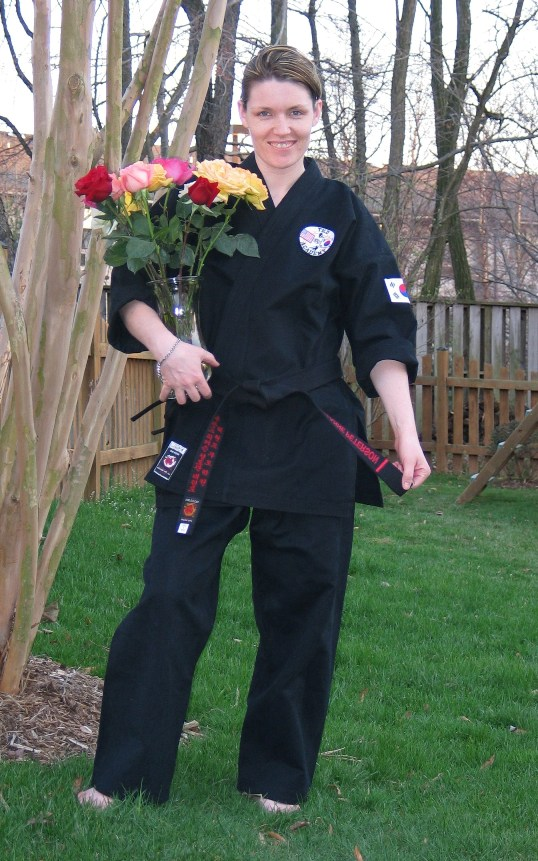 This was taken right after my black belt test--I'm amazed none of the bruises show!